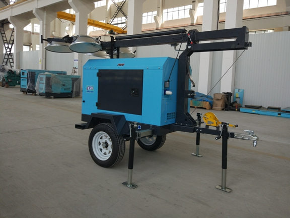 Contruction Emergency Portable 6-7kw 50Hz Mobile Light Tower , Trailer Mounted Light Towers Water Cooled