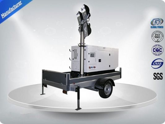 China Single Phase Generator Mobile Light Tower Trailer With Manual Operated Mast supplier