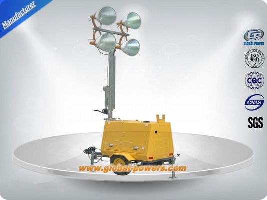 China LED 9m Portable Trailer  Mobile Light Tower Diesel Generator  with Hand Push distributor