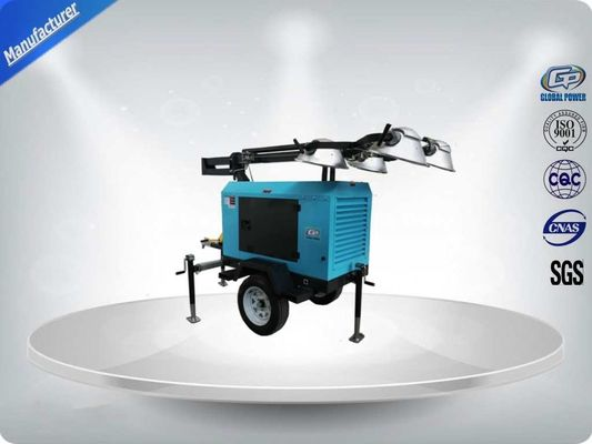 China Contruction Emergency Portable 6-7kw 50Hz Mobile Light Tower , Trailer Mounted Light Towers Water Cooled distributor