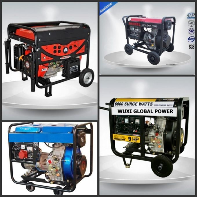 Air Cooled Silent Portable Generator Set 5.5 -6.3 Kva Open Type With Manual  Starter